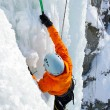 Ice climbing the waterfall. — Stock fotografie