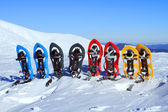 Snowshoeing. Snowshoes in the snow. — Stock Photo