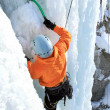 Ice climbing the waterfall. — Stock Photo