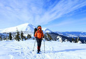 Winter hike on snowshoes. — Stock Photo