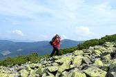 Caminhadas nas montanhas de verão. — Fotografia Stock