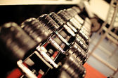 Row of weights in a gym — Stock Photo