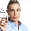 Woman drawing a three tiered pyramid — Stockfoto