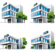 Four cartoon office buildings with trees. - Stok Vektör