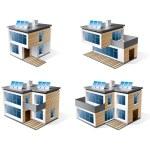 Four modern family houses. — Stock Vector