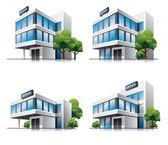 Vier cartoon kantoorgebouwen met bomen. — Stockvector