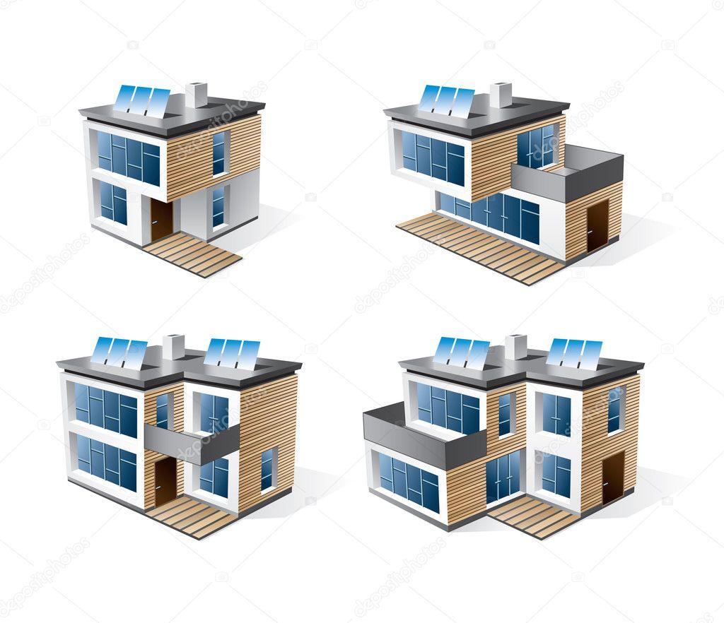 Four modern family houses stock vector petovarga for Modern family house 90210