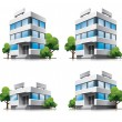 Four cartoon office buildings with trees. - 图库矢量图片
