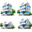 Four cartoon office buildings with trees. - Stockvectorbeeld