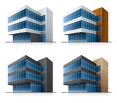 Four vector office buildings — Vettoriale Stock