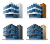 Quattro costruzioni di ufficio vettoriale — Vettoriale Stock