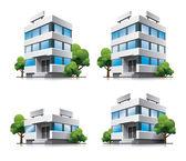 Quatre immeubles de bureaux avec des arbres de dessin animé. — Vecteur
