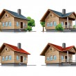 Cottage house cartoon icons - Stock Vector