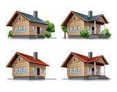 Cottage house cartoon icons — Stock Vector