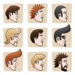 Cartoon men heads - Stock Vector