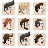Cartoon men heads — Stock Vector