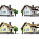 Family houses cartoon icons — Stock Vector #16501897