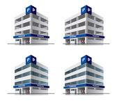 Fyra tecknade bil parkering vektor byggnader — Stockvektor