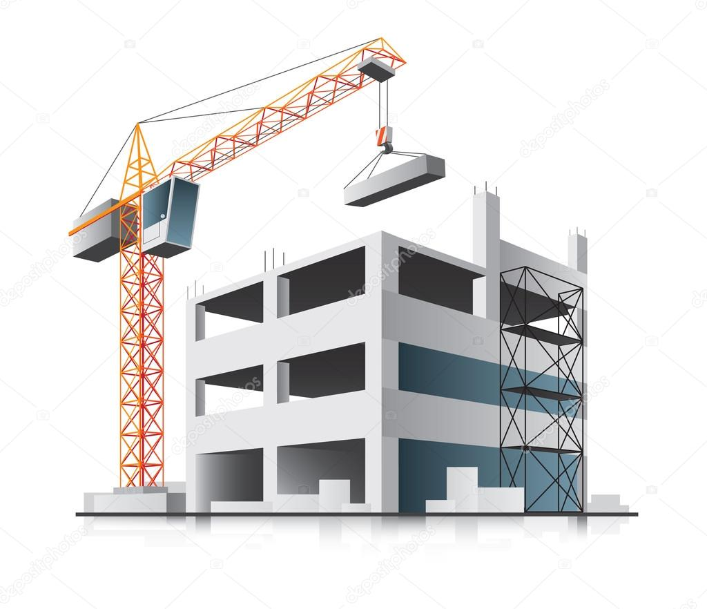 Building construction with crane — Stock Vector ...