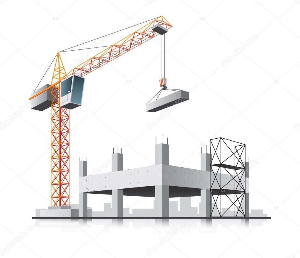 Costruzione di edifici con gru vettoriali stock for 2 piani di costruzione di edifici in metallo