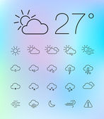 Thin weather icon set — Vecteur