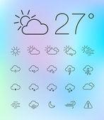 薄い天気アイコンを設定 — ストックベクタ