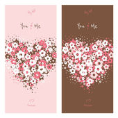 Love cards with flower heart — Stock Vector
