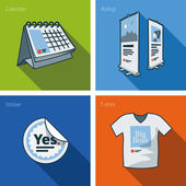 Printouts icon set of calendar, rollup banner, sticker and t-shirt — Vector de stock