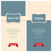 Beautiful retro love greeting cards  — Stockvektor