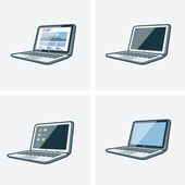 Set of four laptop icons  — Stock Vector