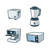 Home Appliances 3 - Toaster, Blender, Coffee maker, Microwave Ov — Stock Vector
