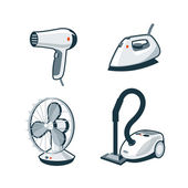 Home Appliances 5 - Hair Dryer, Iron, Fan, Vacuum Cleaner — Stock Vector