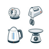 Home Appliances 4 - Timer, Hand Mixer, Electric Kettle, Kitchen  — Stok Vektör