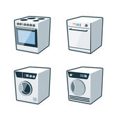 Home Appliances 2 - Cooker, Dishwasher, Dryer, Washing machine — Stok Vektör