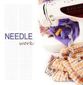 Sfondo con la macchina da cucire — Foto Stock