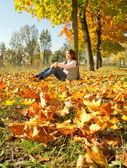 Niña sentada en la alfombra de hojas amarillas — Foto de Stock