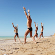 Chi Kung gimnastic on the sea coast — Stock Photo