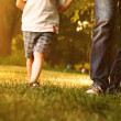 Stock Photo: Father and son walking across lawn in park