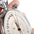 Close up view on the hands of stop watch — Stockfoto