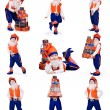 Funny gnomes with gifts — Stock Photo