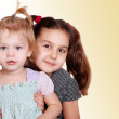 Two little girls portraits — Stock Photo