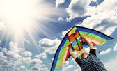 Happy child flies a kite in the sky 2 — Stock Photo