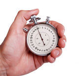 Men's hand with stopwatch — Stock Photo