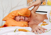 Unpleasant morning for a men — Stock Photo
