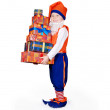 Little gnome with gift boxes — Stock Photo