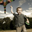 Happy playing child with kite — Stock Photo