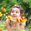 Happy little girl at the outdoor — Stock Photo