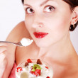 Lady with strawberry dessert — Stock Photo