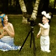 Alice and White Rabbit at the green meadow — ストック写真