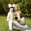 Alice and White Rabbit in Wonderland — Stock Photo
